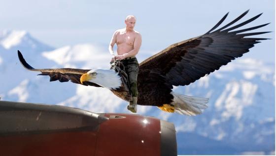 Putin flying an eagle
