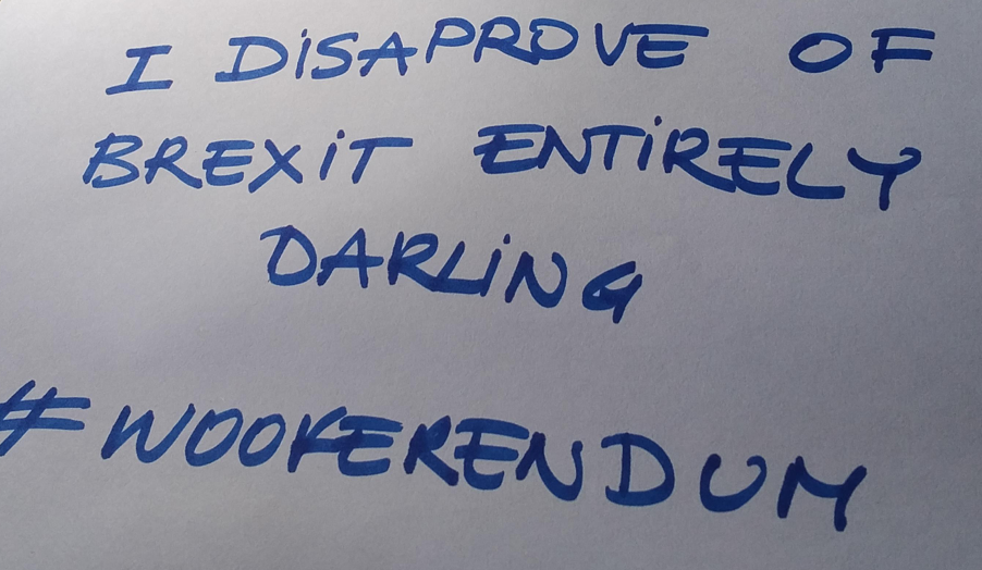 A handwritten sign that reads 'I disapprove of Brexit entirely, darling. Wooferendum'